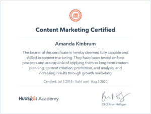 Content marketing certificiate